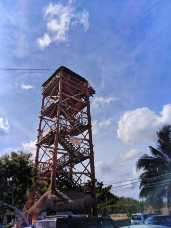 Zipline tower at entry to Cobe Ruins Archaeological Park Yucatan road trip 1
