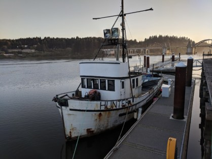 Old Fishing boat off Boardwalk Old Town Florence Oregon Coast