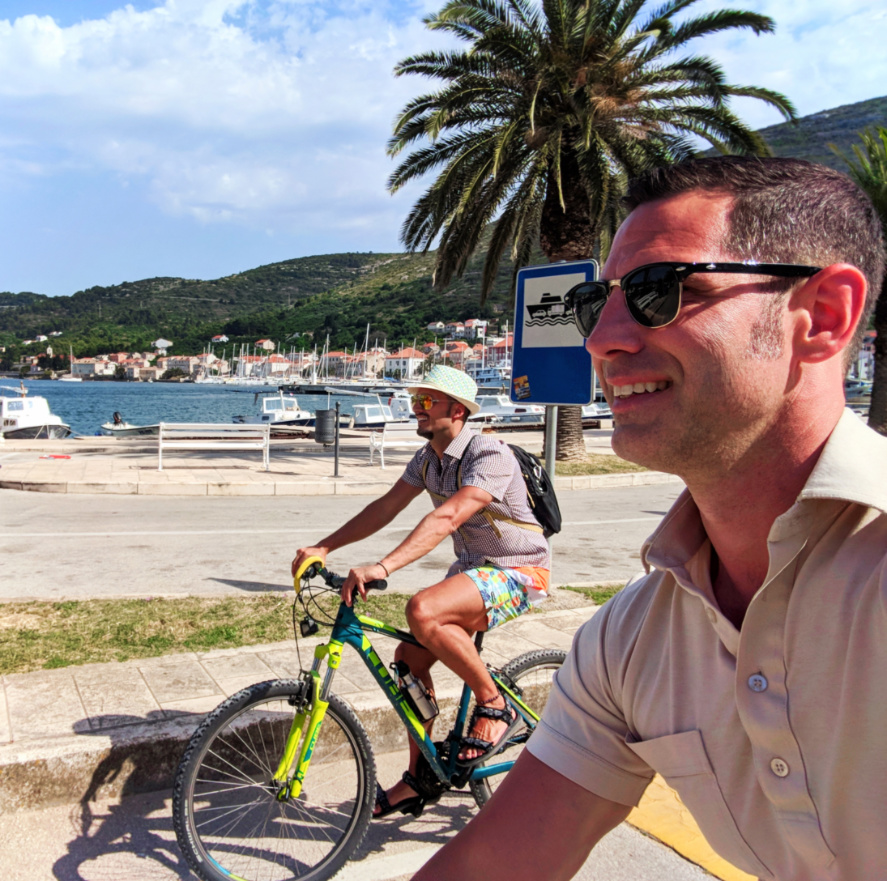 Chris and Rob Taylor riding bikes in Vis Croatia 1