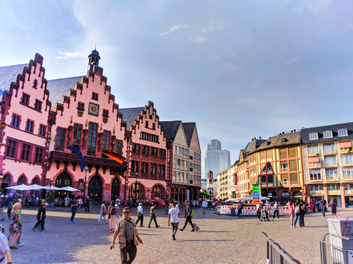 Colorful buildings in Romerberg Town Square Old Town Frankfurt Germany 7