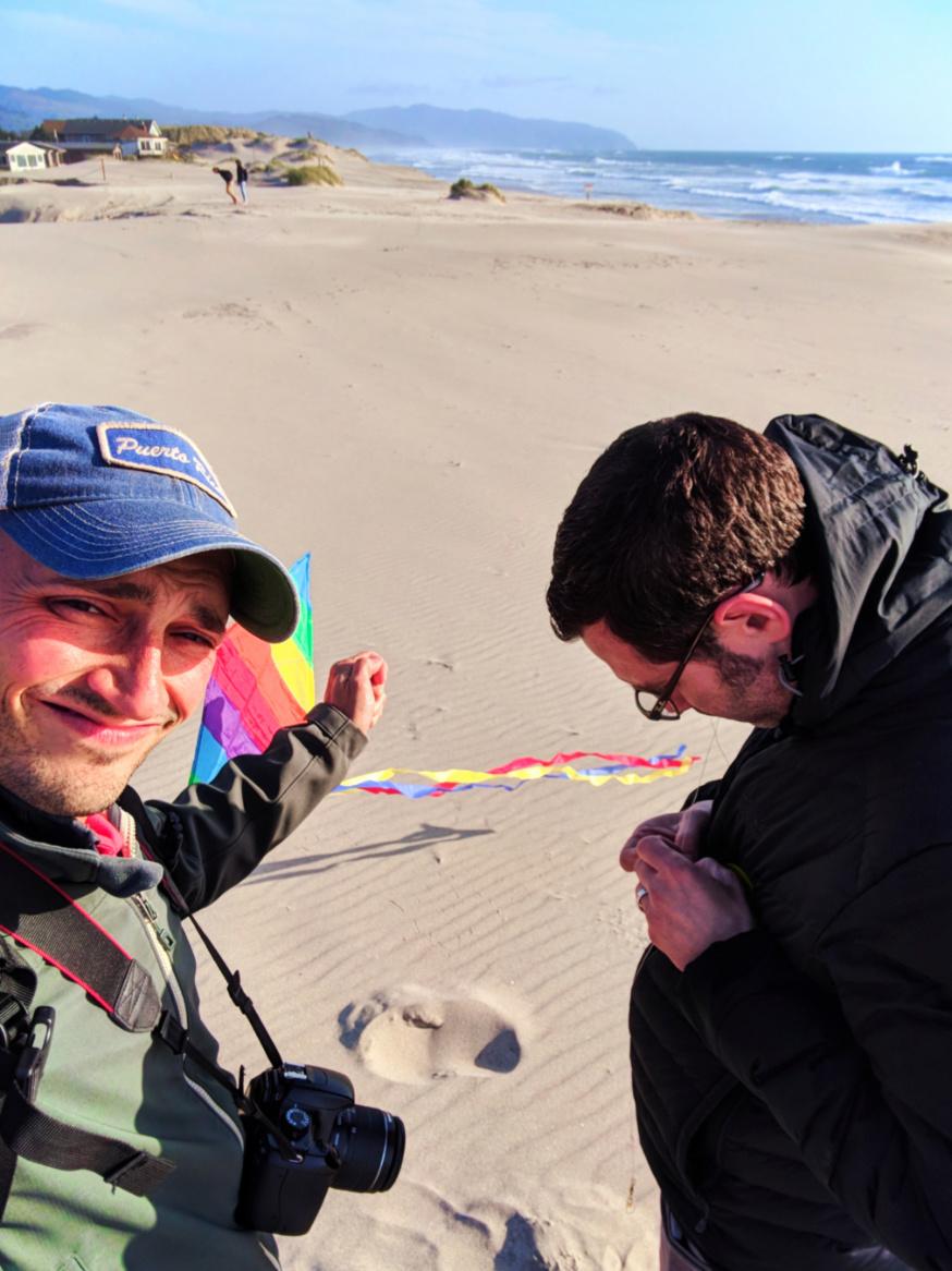 Taylor Family flying kits on beach at Pacific City Oregon Coast 2