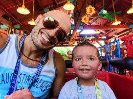 Taylor Family on Woody Woodpecker roller coaster cartoon area Universal Studios Florida 1
