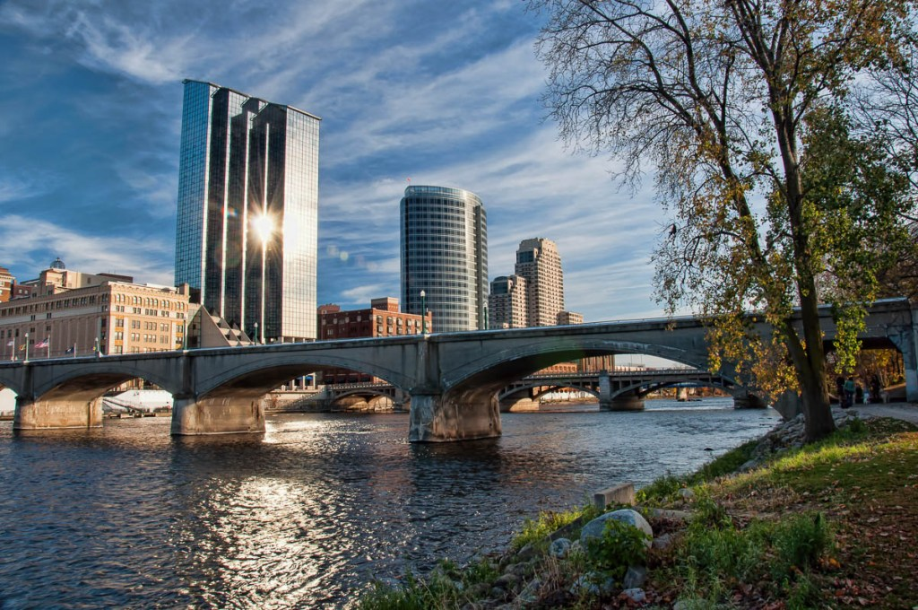 Grand Rapids skyline from the banks of the Grand River