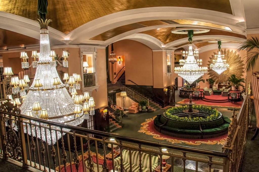 The lobby of the Amway Grand Plaza Hotel
