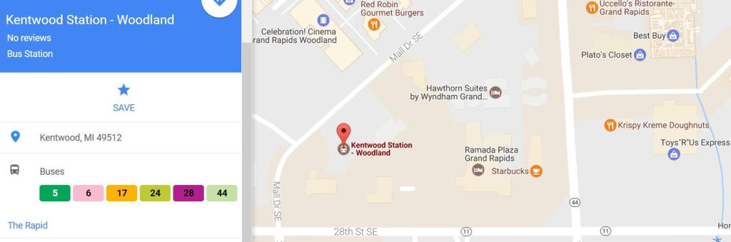 Map of Kentwood / Woodland Mall Bus Station Location