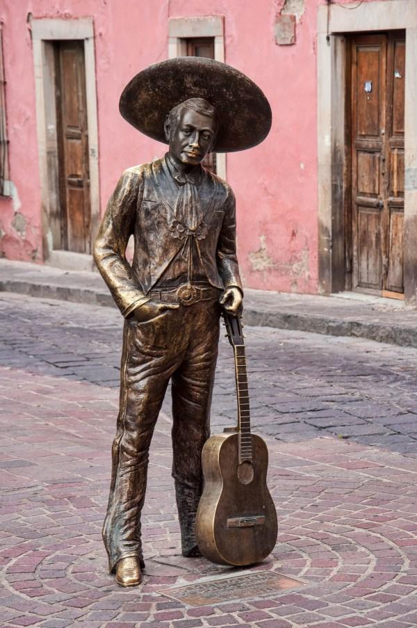 """Statue of Jorge Negrete, """"El Charro Cantor"""" of Guanajuato"""