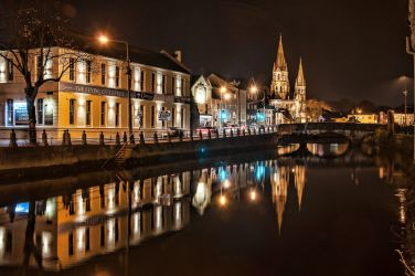 Nighttime reflections in the River Lee - Saint Fin Barre's Cathedral is on the left
