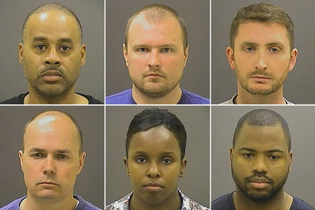 The six Baltimore officers charged, clockwise from top left: Caesar Goodson; Garrett Miller;  Edward Nero; William Porter; Alicia White; and Brian Rice. Credit Baltimore Police Department