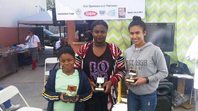 First place was awarded to Esmeralda Nava, Lorriena Barrs, and Juania Carter from Compton. (photo: Dhat Stone Academy)