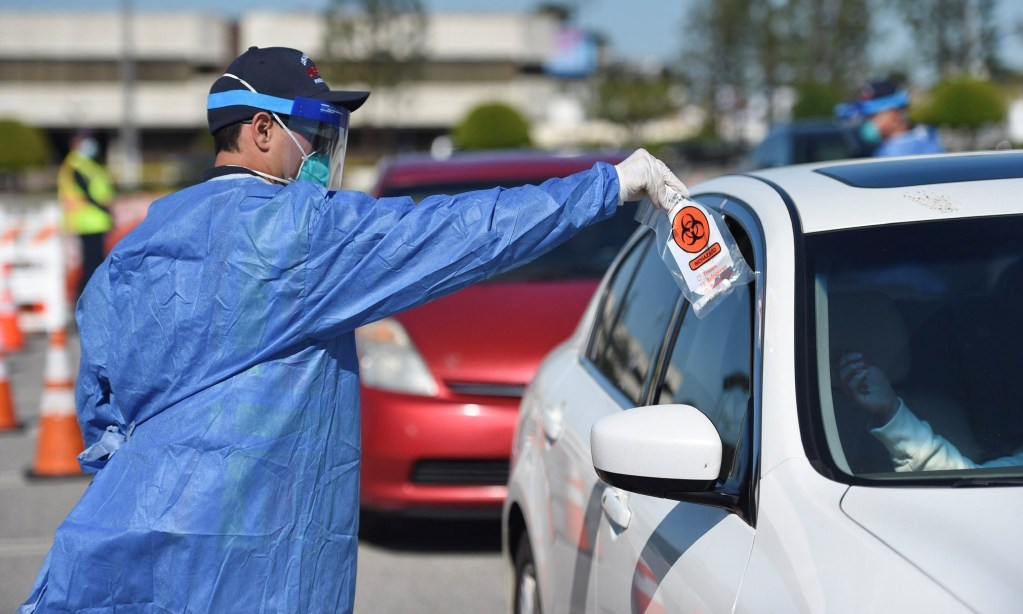People with appointments pull up to be tested for coronavirus at the new drive-in testing center at the Forum in Inglewood, on Tuesday, April 14. (Courtesy County of Los Angeles)