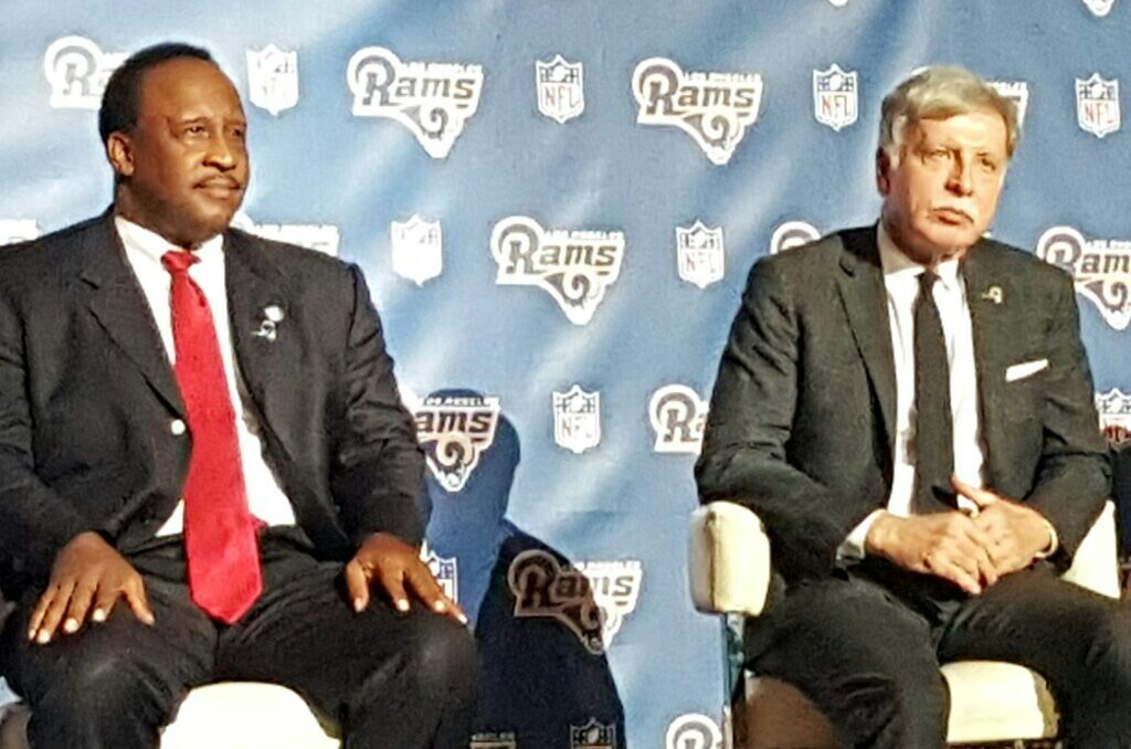 City of Inglewood Mayor James T. Butts and Los Angeles Rams owner Stan Kroenke at LA Rams Press Conference in Inglewood, CA, January 15, 2016 (photo: 2UrbanGirls)