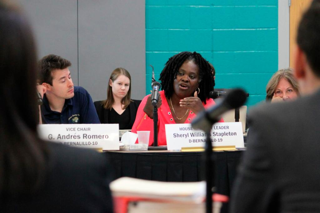 State Rep. Sheryl Williams Stapleton, D-Albuquerque, questions a panel of lawyers about the state's funding formula for public schools in 2018 during a committee hearing in Albuquerque.  Susan Montoya Bryan/Associated Press file photo