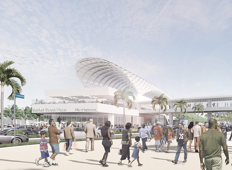 Rendering of the Market St. Station of the Inglewood Transit Connector. CITY OF INGLEWOOD