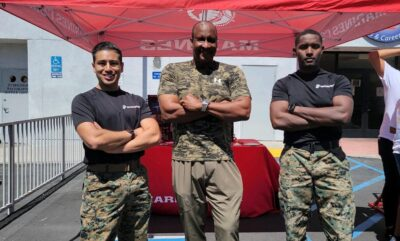 Mayor Butts at the Marines recruitment booth at the Beyond the Rim Girls Club. (Credit: Mayor Butts)
