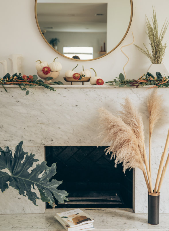 Sydne Style shows easy fall home decor ideas for fireplace mantel and pumpkins