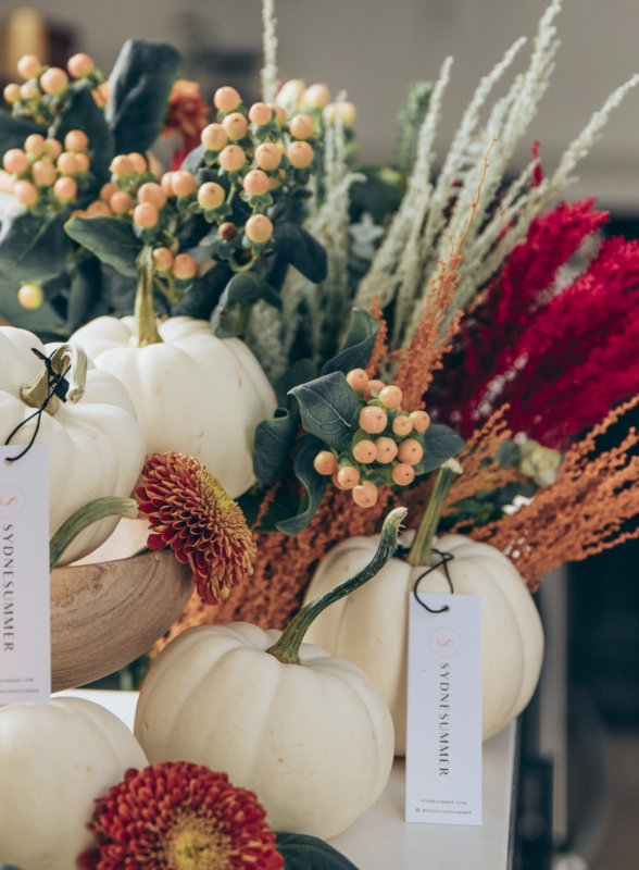 Sydne Style shows easy fall home decor ideas with white pumpkins
