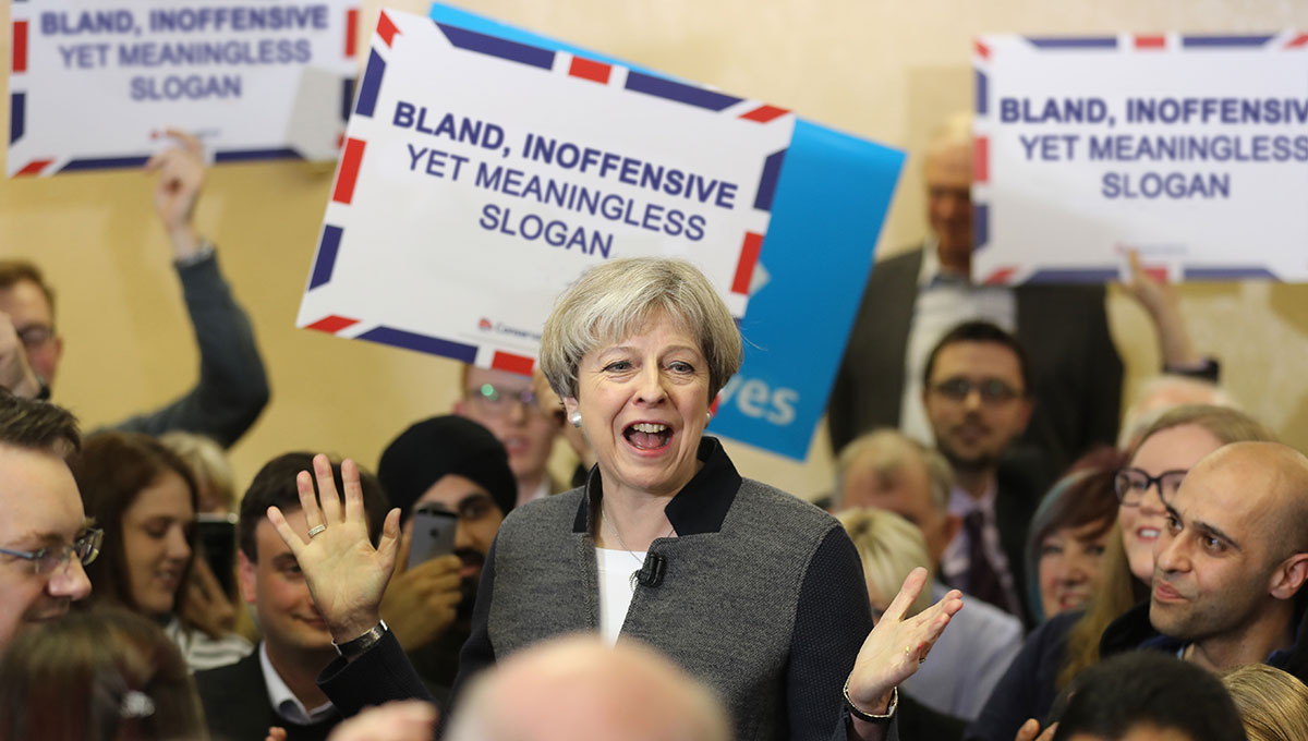 Image result for Theresa May's slogan United