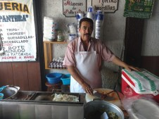 The proud owner and cook at Tacos El Pantera