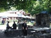 Melanie enjoying the courtyard of the Cardrona Hotel
