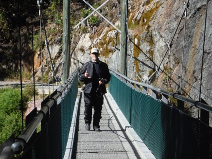Greg on the suspension bridge at the Blue Pools