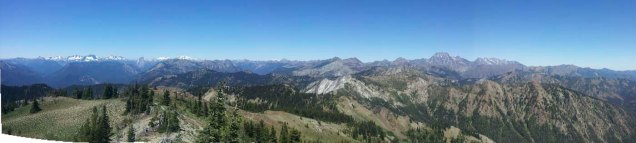 From the top of Jolly Mountain the 360 view includes the Cascades with Mount Stuart to the north.