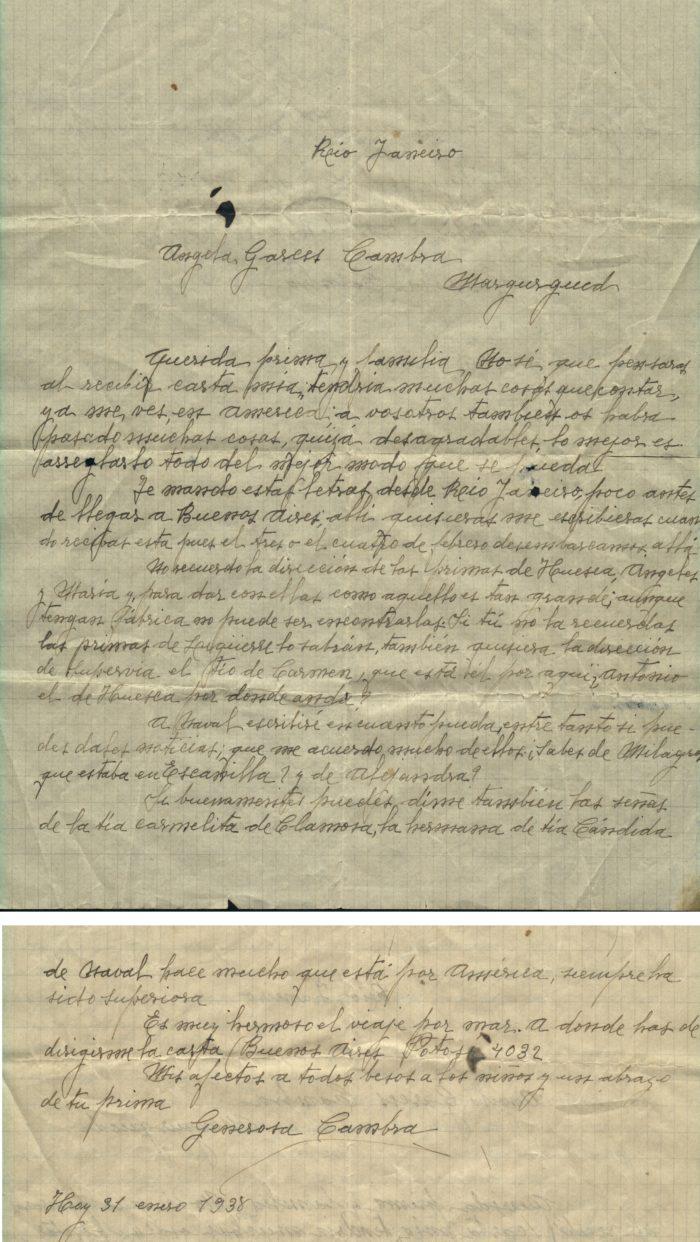 1938-01-31.Carta desde Rio de Janeiro de Generosa Cambra a Ángela Garcés