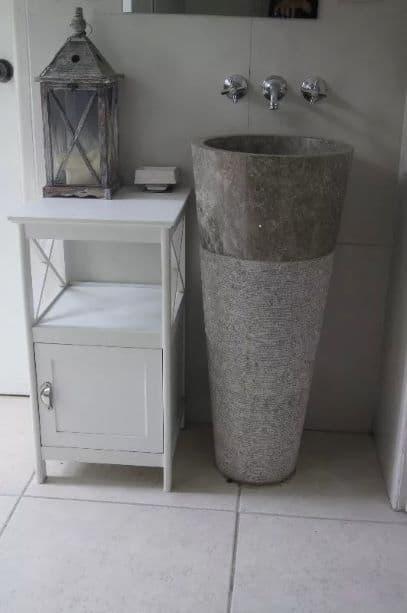 free standing grey marble pedestal sink bathroom 90 cm x 40 cm cono model