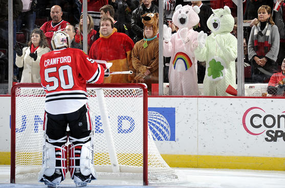 My Care Bear Costumes doing me proud in Chicago! (Photo by Bill Smith/NHLI via Getty Images)
