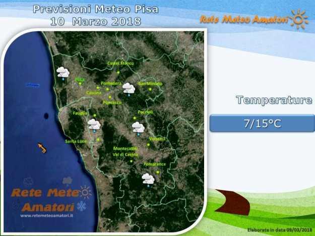 Previsioni meteo a Pisa per il weekend: instabilità e pioggia