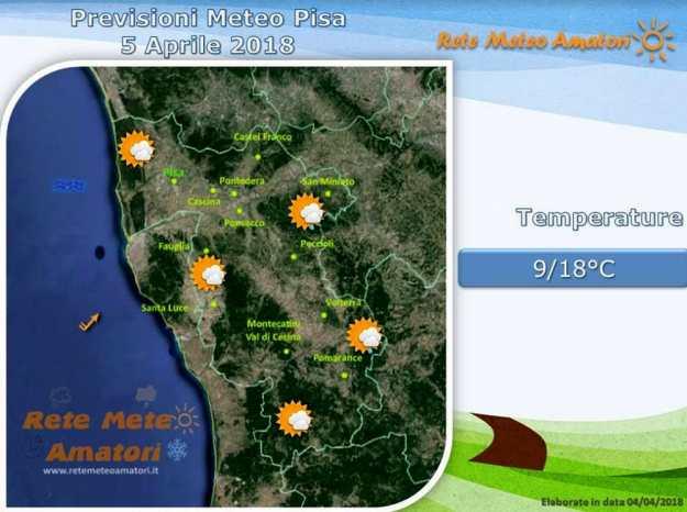 Previsioni meteo a Pisa: ultime piogge poi miglioramento