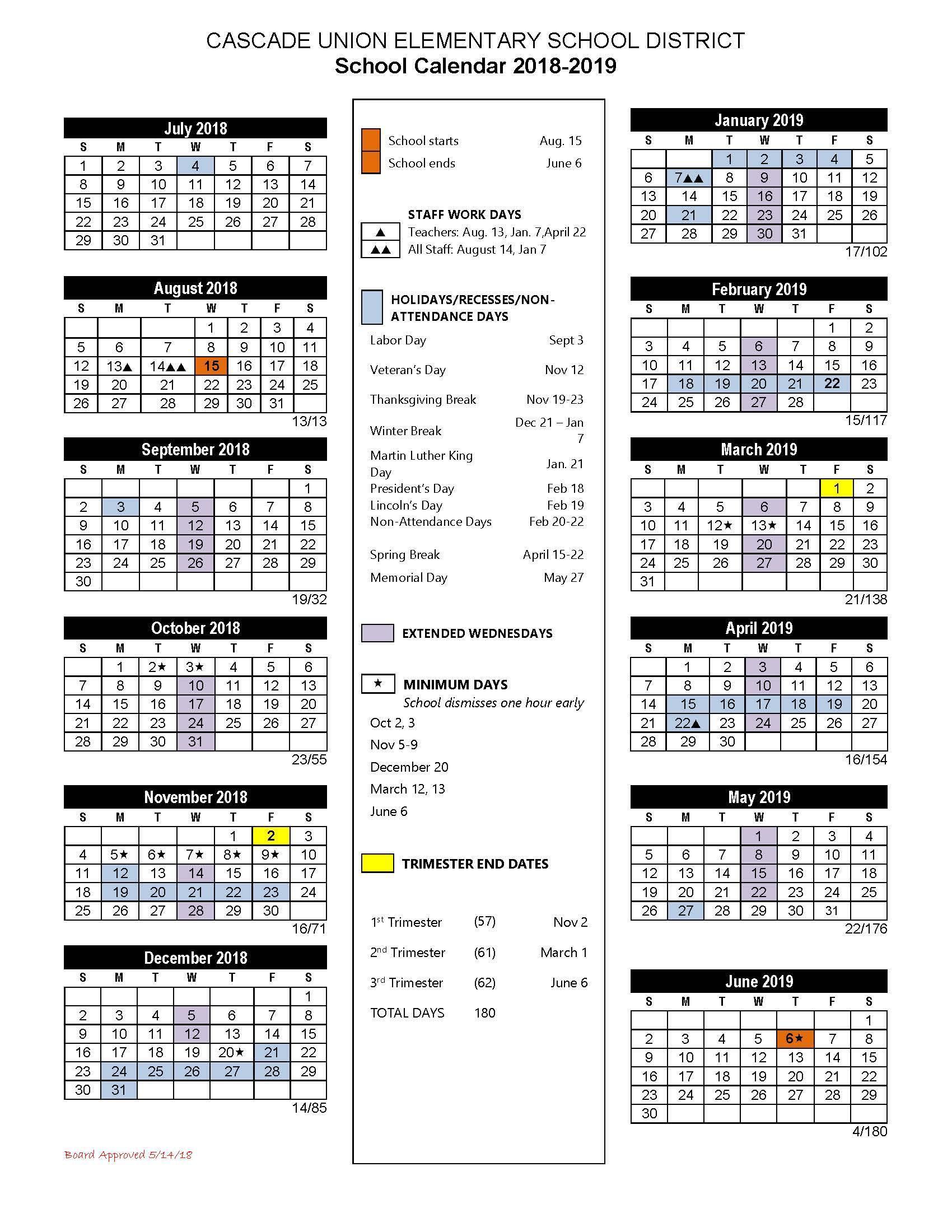 School Calendars School Calendar Cascade Union