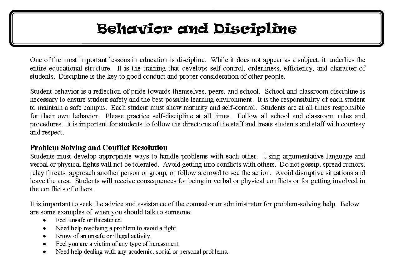 Behavior And Discipline Policies Administration Jones