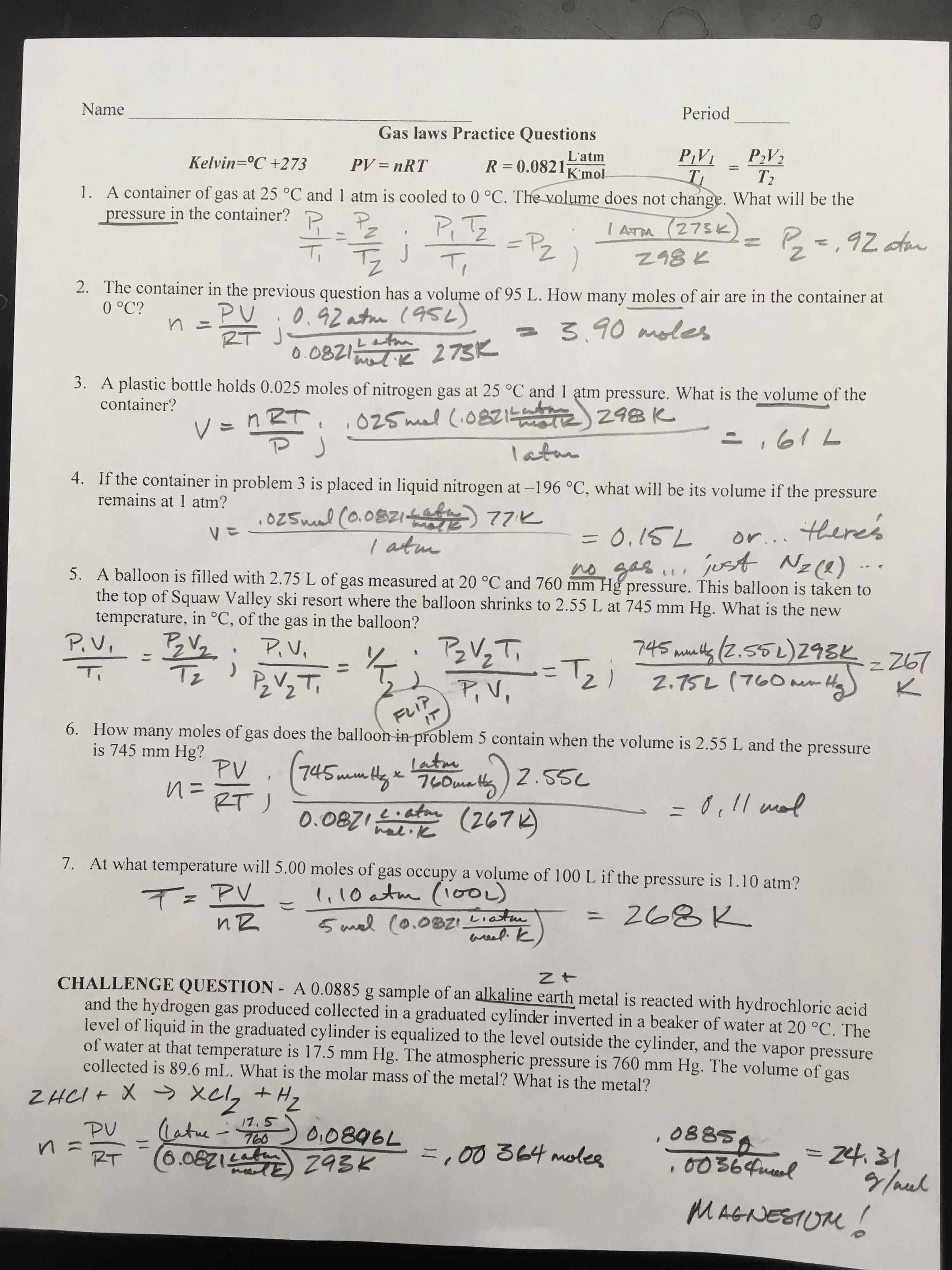 Ideal Gas Law Problems Worksheet Answers With Work My