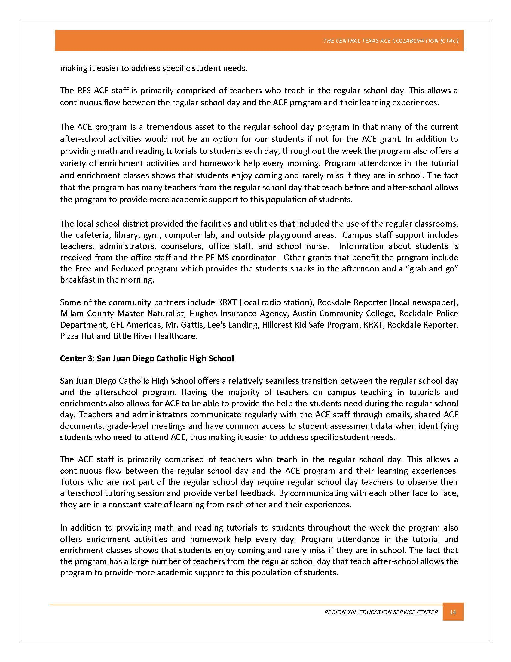 Program Evaluation Report After School Program