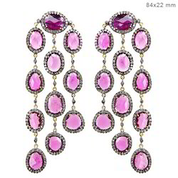 Pink Tourmaline Chandelier Earrings Gemstone Jewelry