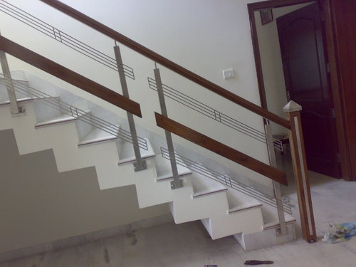 Stainless Steel Stairs Glass Railing Chandigarh India Id | Steel Railing With Glass For Stairs