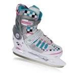 Nijdam verstelbare ijshockeyschaatsen wit/roze/blauw kinderen