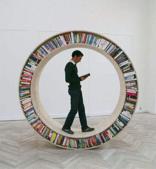 Circular walking bookshelf (via Bookshelf)