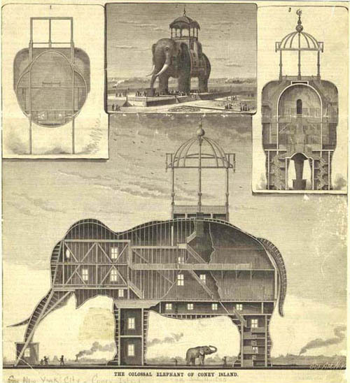 """paraxenos:  canadiansliveinigloos:  grieve-machine:  tarotwoman:  radioheartedkid:  readmorewikipedia:  The Coney Island Elephant was a hotel and brothel built in the shape of  an elephant, and located on Coney Island.In 1885, the Elephant Hotel,  also known as the Elephantine Colossus, was built by James V. Lafferty  and was 122 feet high with seven floors and had 31 rooms.The hotel  became associated with prostitution. This lead to the phrase """"going to  see the elephant"""" being created, to mean going to see a prostitute. (three more pics)    How bizarre :/"""