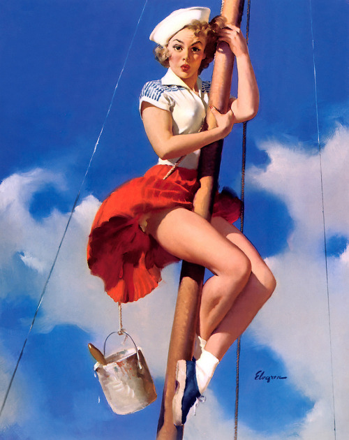 the-scuttlefish:  Sitting Pretty (by What Makes The Pie Shops Tick?) by Gil Elvgren