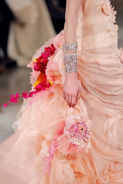 Christian Lacroix 2008 Haute Couture floral pink silk flower fashion accessories inspiration pinterest