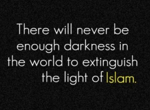 tidak akan pernah ada  kegelapan di dunia ini yang cukup mampu atau menghapus serta meredupkan  Cahaya yang berada di agama ISLAM the name of peace