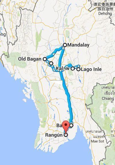 Myanmar, Asia, Mapa Ruta - 3000km-Viajes-Aventura-Alternativos-Grupo-Mochilero