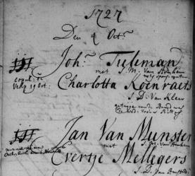 Trouwregister 1727 Jan van Munster en Evertje Mellegers