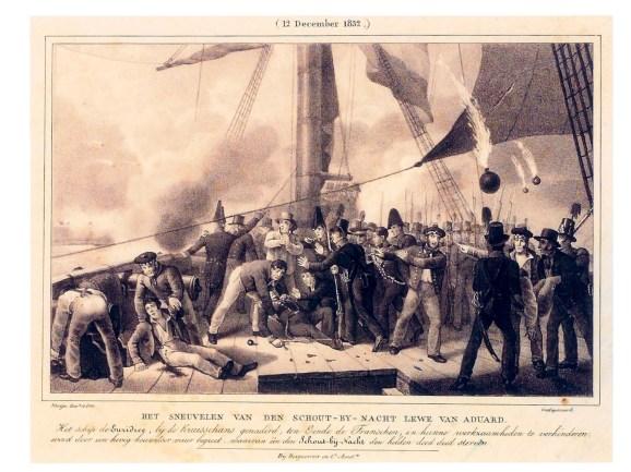 Het sneuvelen van de schout-bij-nacht Lewe van Aduard, 1832, aan boord van de Euridice