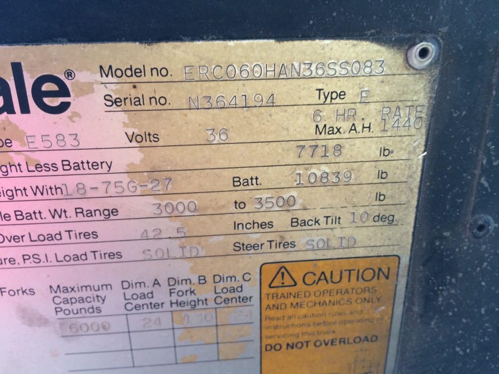 Forklift ID plate