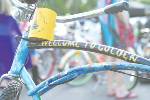 """A very unique bicycle, with the classic """"Welcome to Golden"""" lettering on the cross bar, was just one of the array of bikes that were spotted at last week's Golden Bike Cruise."""