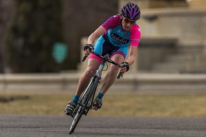 Jillian Bearden racing at the University of Denver Criterium