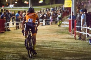 Allen Krughoff making his way to the powdery sand pit in front of excited fans and the lights of CrossVegas.
