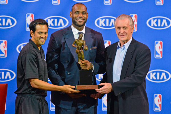 SPORTS: LeBron James receives KIA NBA MVP Trophy!
